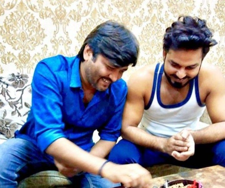 Pawan Singh with his Brother
