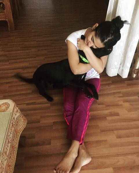Ruhani Sharma with her pet dog