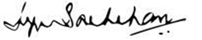 Signature of Jaya Bachchan