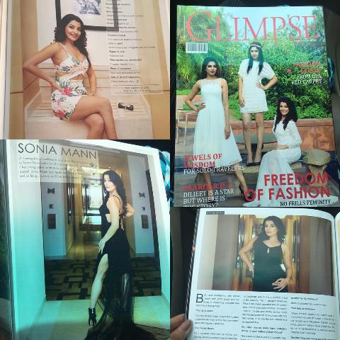 Sonia Mann on the cover of the Glimpse Magazine