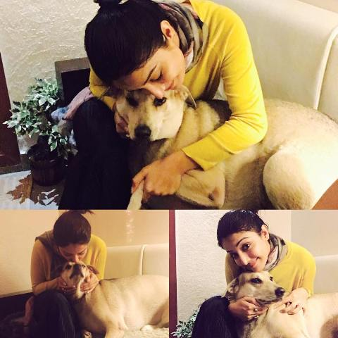Sonia Mann with her pet dog