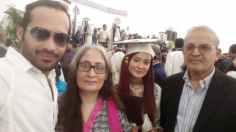 Waqar Zaka with His Parents and Sister