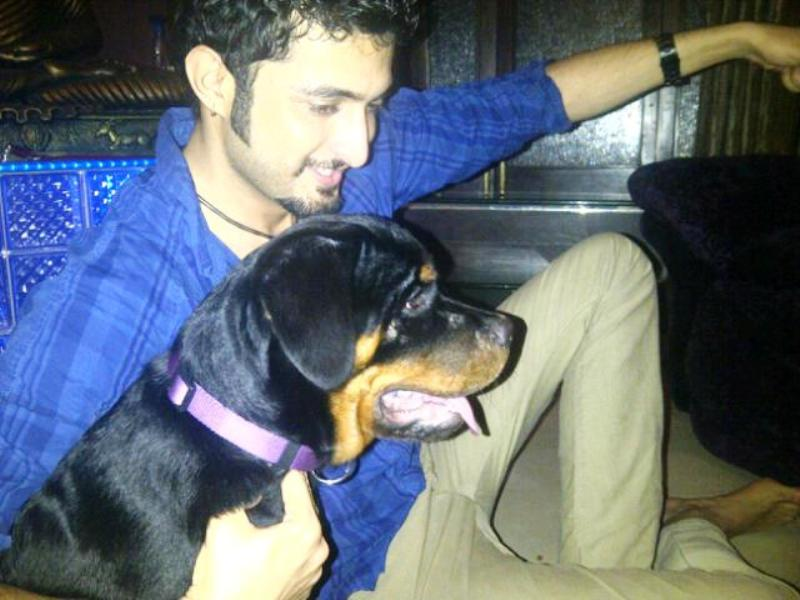 Aadil Khan with His Pet Dog