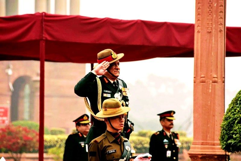 Bipin Raat taking charge as the Chief of Army Staff (COAS) of India