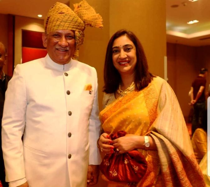 Bipin Rawat with his wife Madhulika Rawat