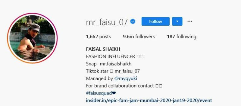 Faisal Shaikh's Instagram Account