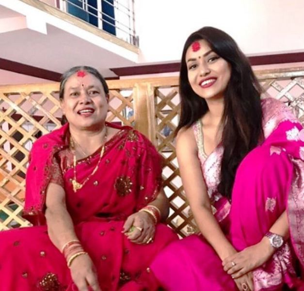 Malina Joshi with her Mother
