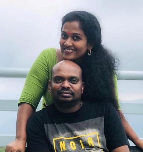Manju Pathrose with her husband