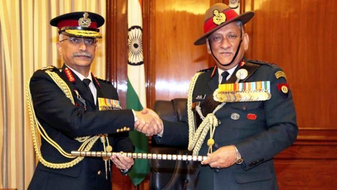Manoj Mukund Naravane (left) taking charge as the Chief of Army Staff from Bipin Rawat