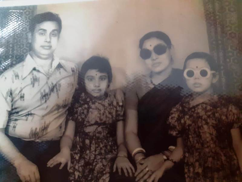 Mausumi Das with Her Parents and Sister