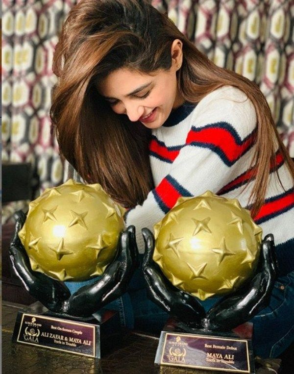 Maya Ali Posing with her Galaxy Lollywood Awards