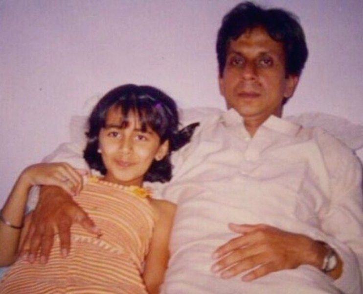 Nikki Galrani as a Child with her Father
