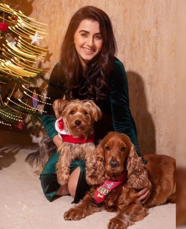 Nikki Galrani with her Pet Dogs