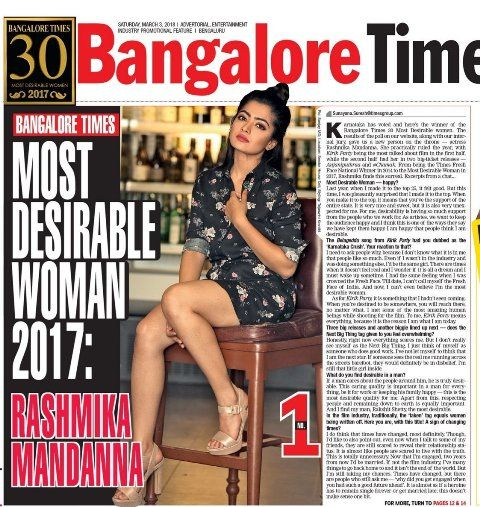 Rashmika Mandanna placed first in Bangalore Times list of '30 Most Desirable Women of 2017
