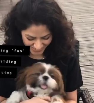Sakshi Shivdasani with her pet dog