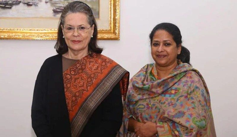 Sharmistha Mukherjee with Sonia Gandhi