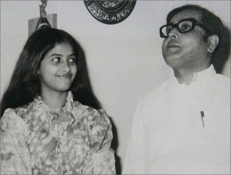 Sharmistha Mukherjee with her Father