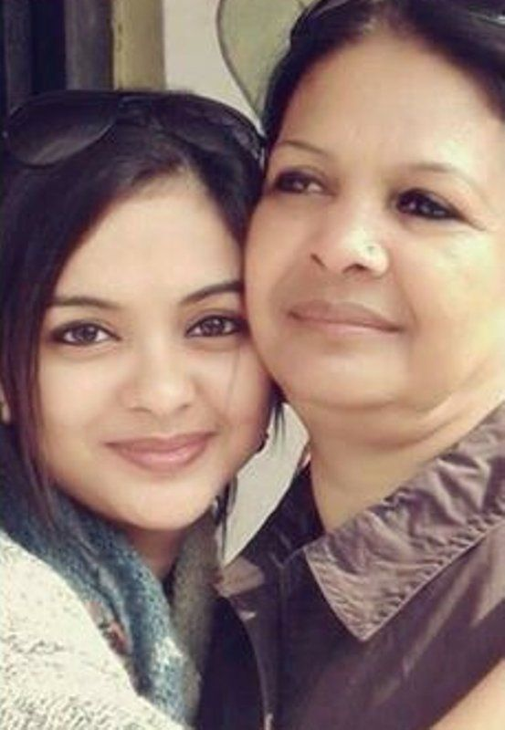 Solanki Roy with her mother