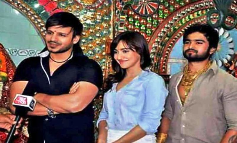 Sunny Waghchoure with Vivek Oberoi and Neha Sharma