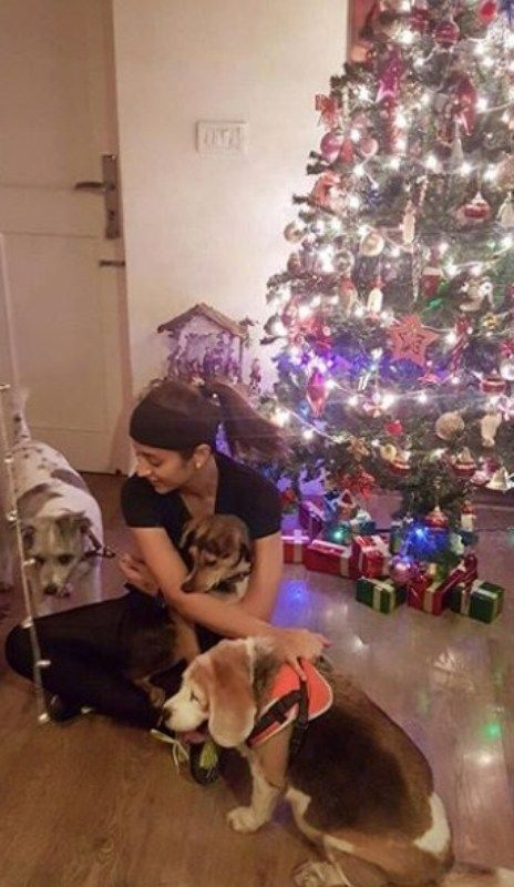 Trisha Krishnan Playing with her Dogs