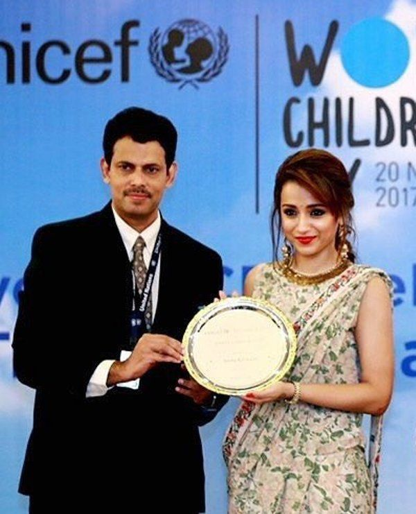 Trisha Krishnan honoured by UNICEF as Celebrity Advocate
