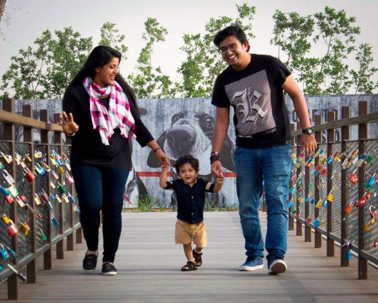 Veena Nair with Her Husband and Son