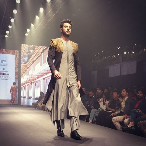 Zebby Singh walking the ramp for a fashion show