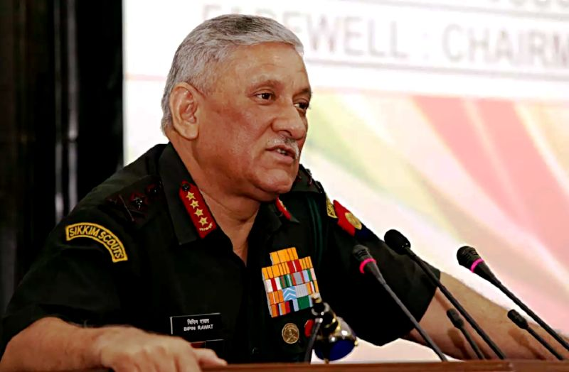 Bipin Rawat speaking at an event