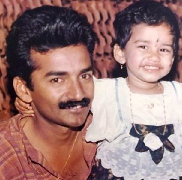 A Childhood Picture of Nabha Natesh with Her Father