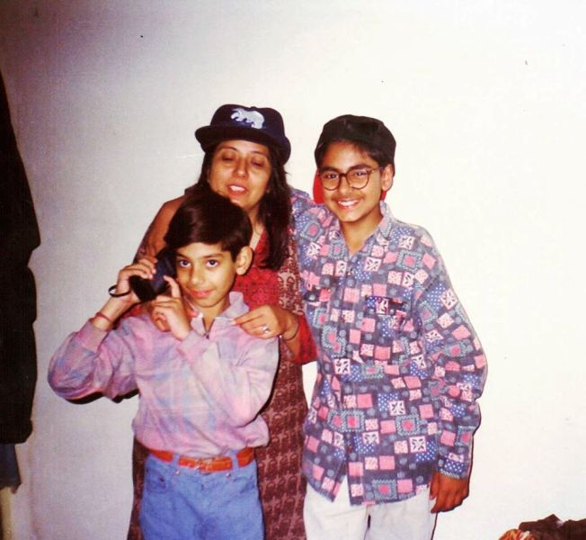 An Old Picture of Pavail Gulati With His Mother and Brother