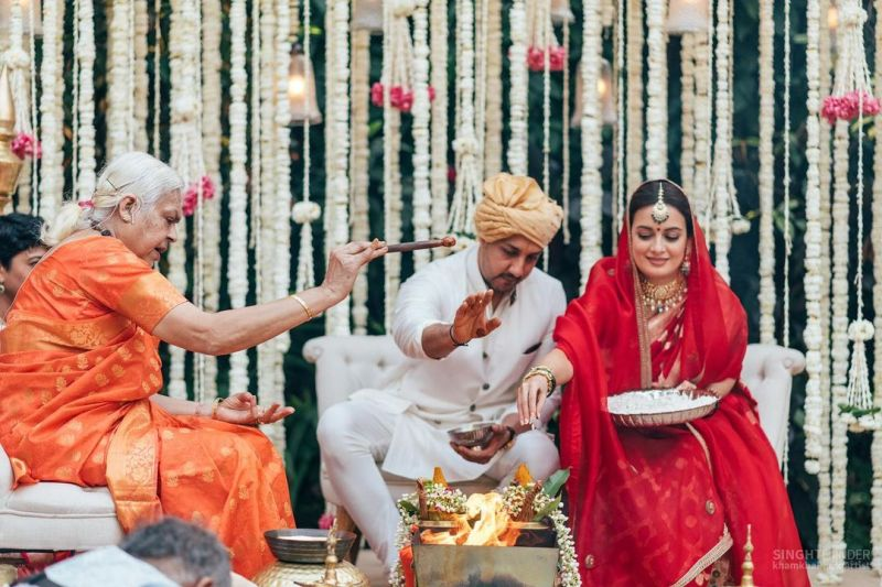 An elderly lady conducted Dia Mirza and Vaibhav Rekhi's wedding