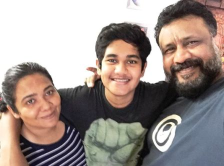 Anubhav Sinha With His Wife And Son
