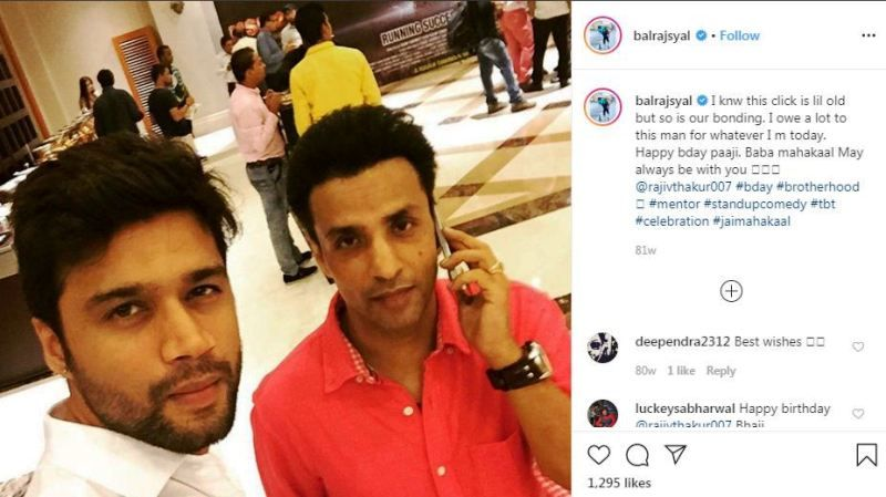 Balraj Syal's Instagram Post about Rajiv Thakur