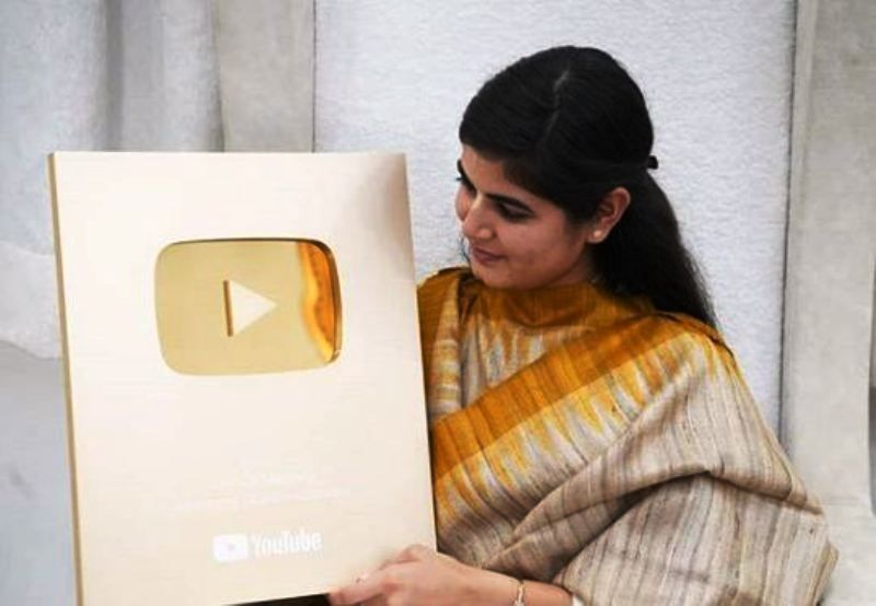 Devi Chitralekha with Her YouTube Golden Play Button