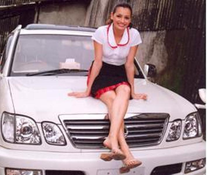 Dia Mirza Posing with her Car