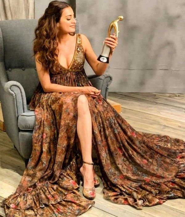 Dia Mirza with her Filmfare Glamour & Style Awards