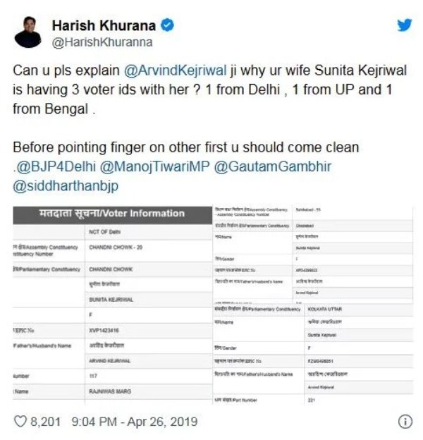 Harish Khurana's Tweet on Sunita Kejriwal's Voter IDs