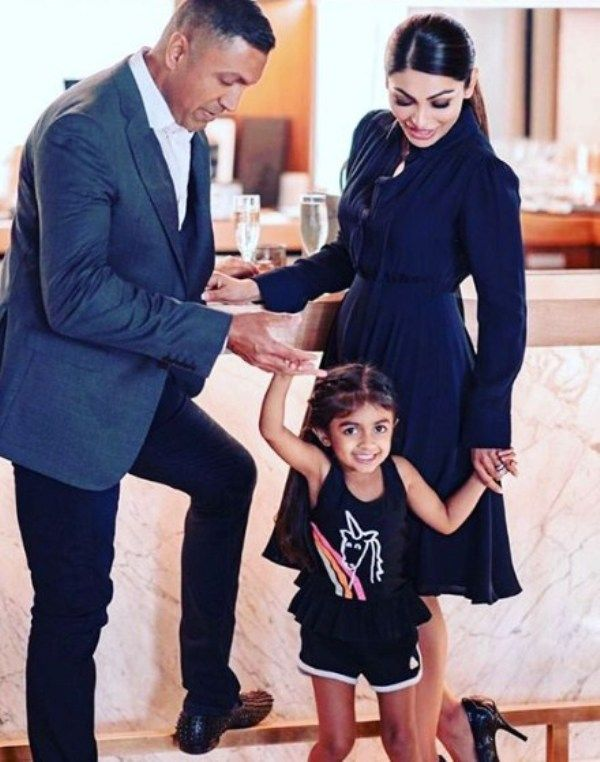 Neeru Bajwa with her Husband and Daughter