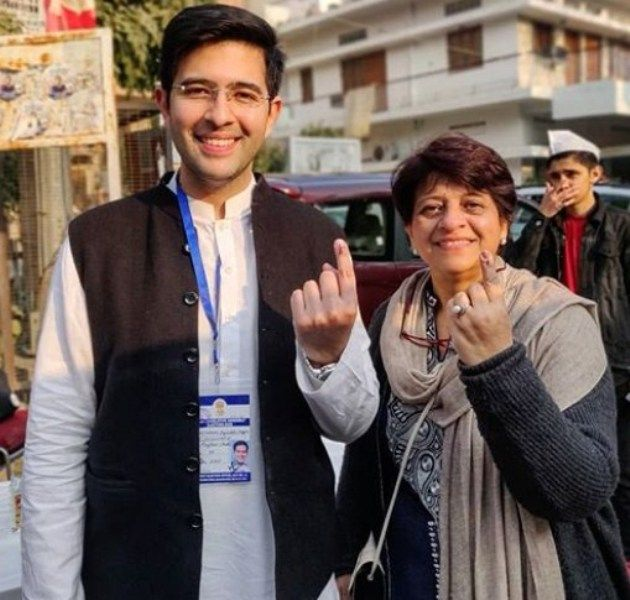 Raghav Chadha with his Mother