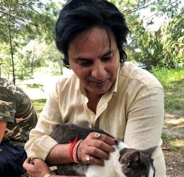 Rahul Roy with a Cat