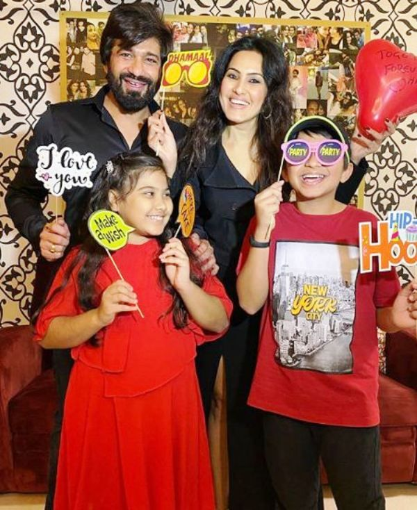 Shalabh Dang with His Son (from his ex-wife) and Kamya Punjabi with Her Daughter (from her ex-husband)