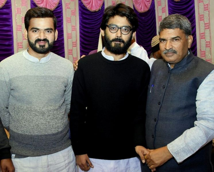 Sharjeel Imam with younger brother Muzzammil Imam and Jahanabad MP Arun Kumar