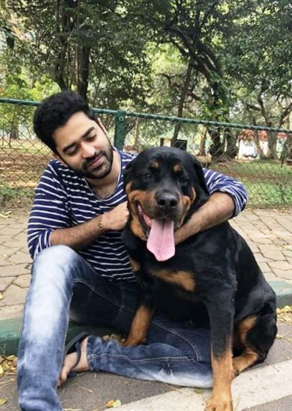 Shine Shetty with His Pet Dog