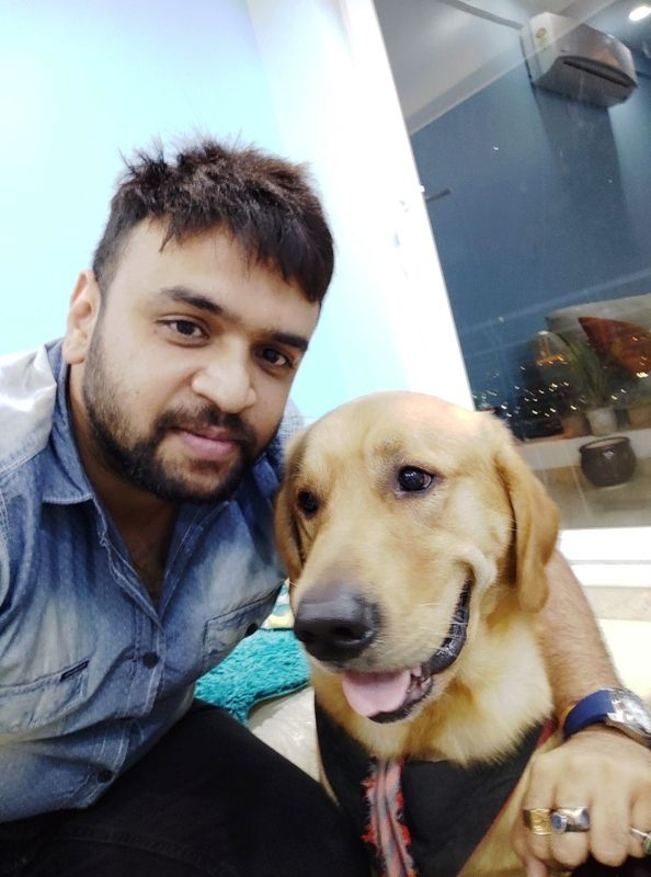 Vaibhav Saxena With His Pet Dog