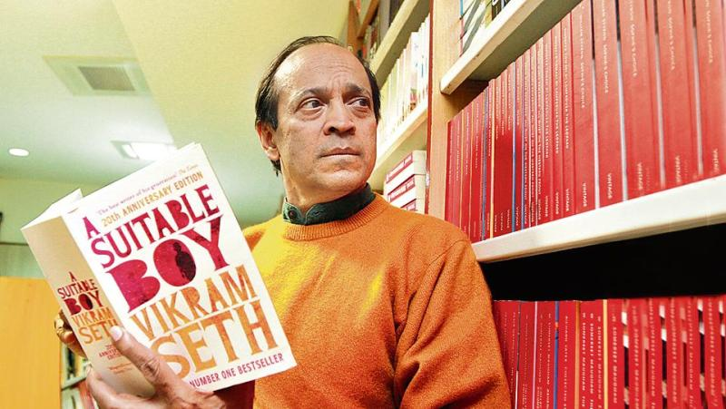 Vikram Seth Posing with his Book - A Suitable Boy