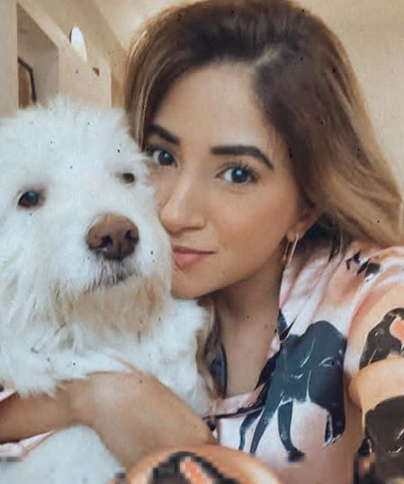 Aashna Shroff with her pet dog