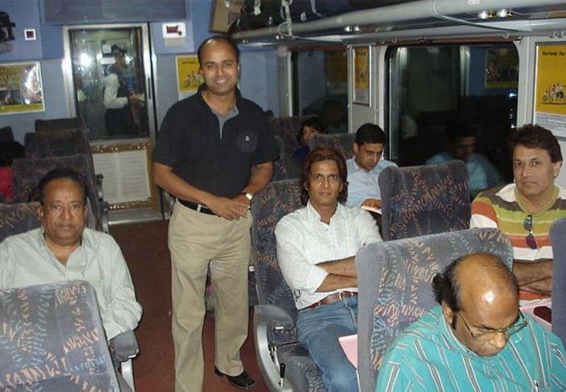 Arvind Trivedi (sitting left) with Sunil Lahri and Arun Govil (both sitting right)