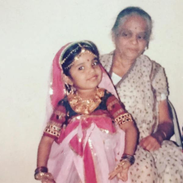 Childhood Picture of Mukta Barve with her Grandmother