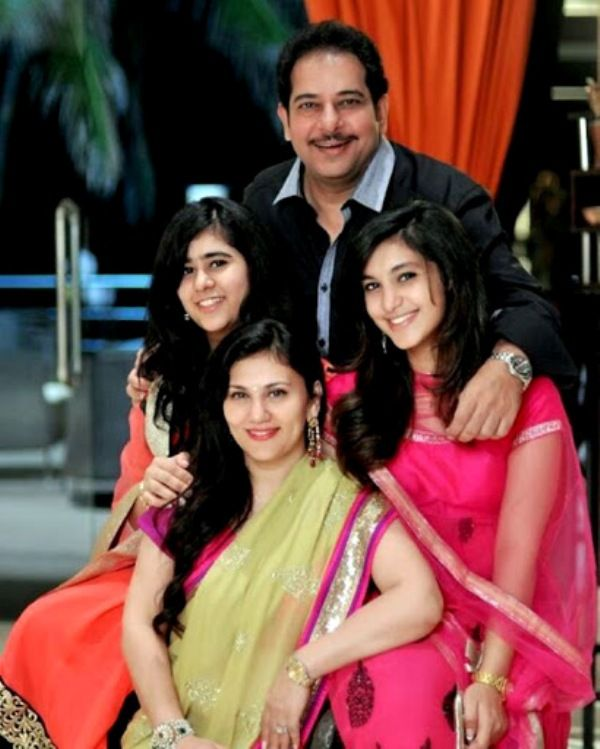 Deepika Chikhalia with her husband and daughters