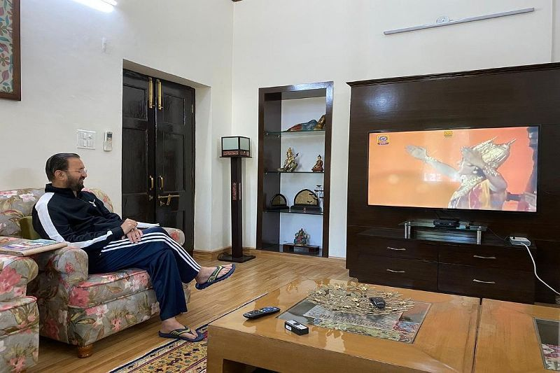 I&B Minister of India Prakash Javadekar watching Ramayan at his home after its re-telecast on Doordarshan in March 2020